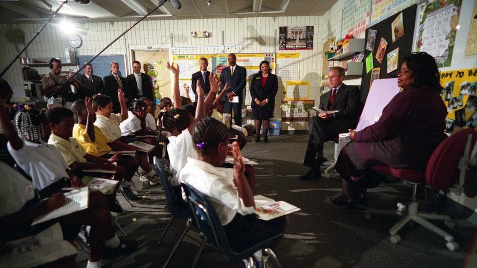 George W. Bush participates in a reading demonstration the morning of Tuesday, Sept. 11, 2001, at Emma E. Booker Elementary School in Sarasota, Florida.