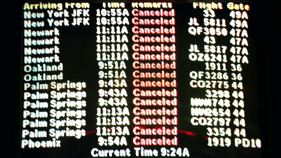 An arrival board at the Los Angeles Airport 11 September 2001 displays cancelled flights around the nation as the attacks unfolded